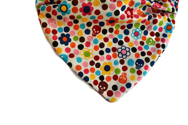 Super Soft Neckerchief in Skulls and Flower