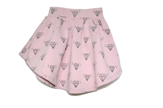 Diamonds on Soft Pink Allover Print Skirt for Baby and Toddler // unique skirt // hand drawn diamond