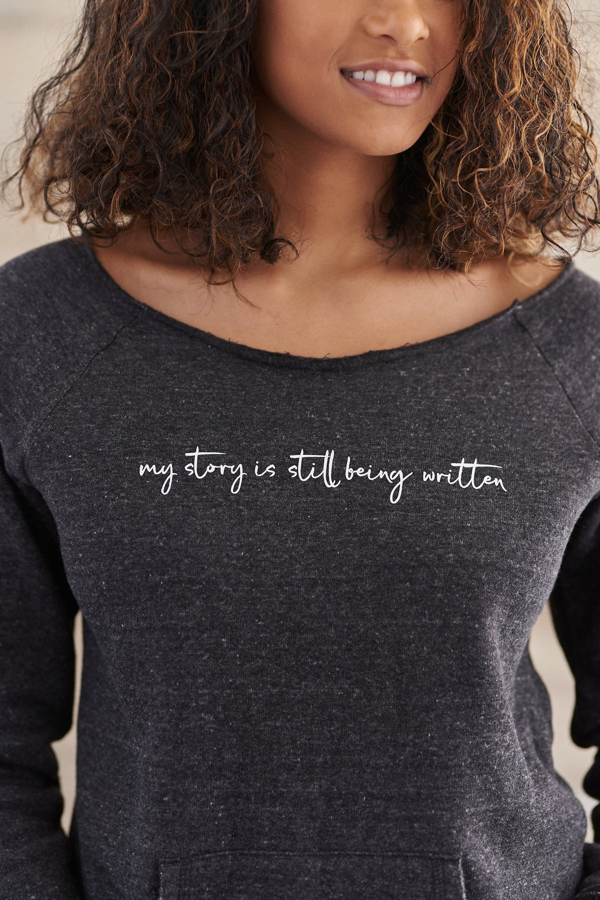 My Story Off Shoulder Sweatshirt