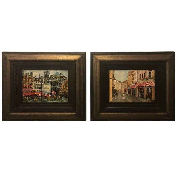 Pair of Oil on Canvas Parisian Street Scenes Signed R. Roywilsens