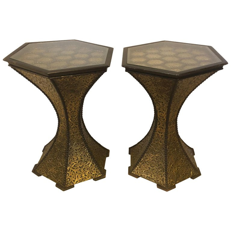 Hollywood Regency Inlaid Gold Brass and Wood Black End or Side Lamp Table, a Pair