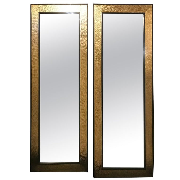 Monumental Mid-Century Modern Gold Brass Wall or Console or Floor Mirrors, Pair
