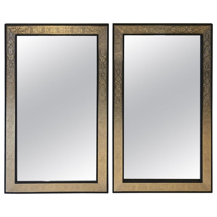 Pair of Moorish Gold Brass over Wood Moroccan Black Mirrors
