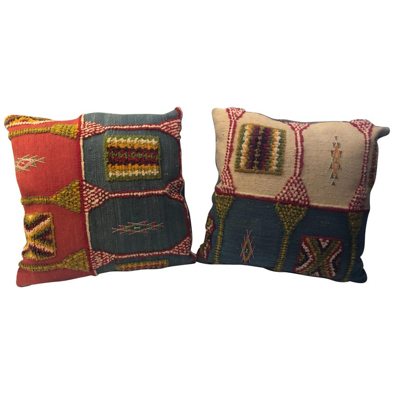 Pair of Handwoven Tribal Wool Vintage Kilim Cushions or Pillows