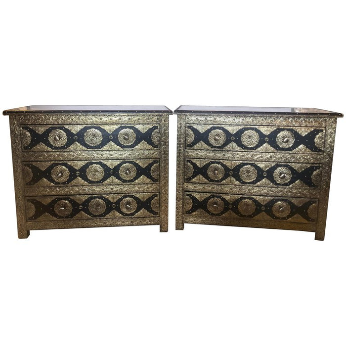 Pair Brass & Ebony Hollywood Regency Style Moroccan Commodes, Chests Nightstands