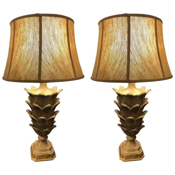 Pair of Palm Tree Form Carved Wooden Table Lamps Manner of Serge Roche