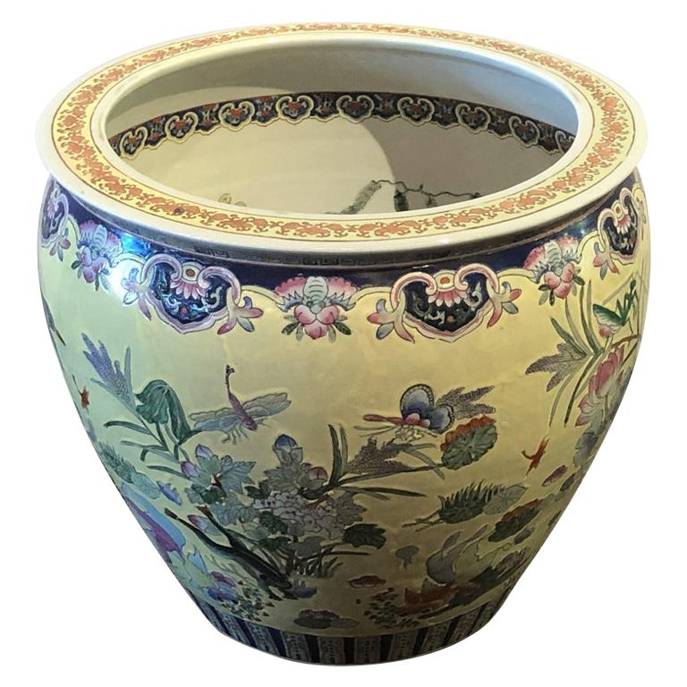 Very Large Vintage Chinese Yellow and White Jardinière or Fish Bowl Planter