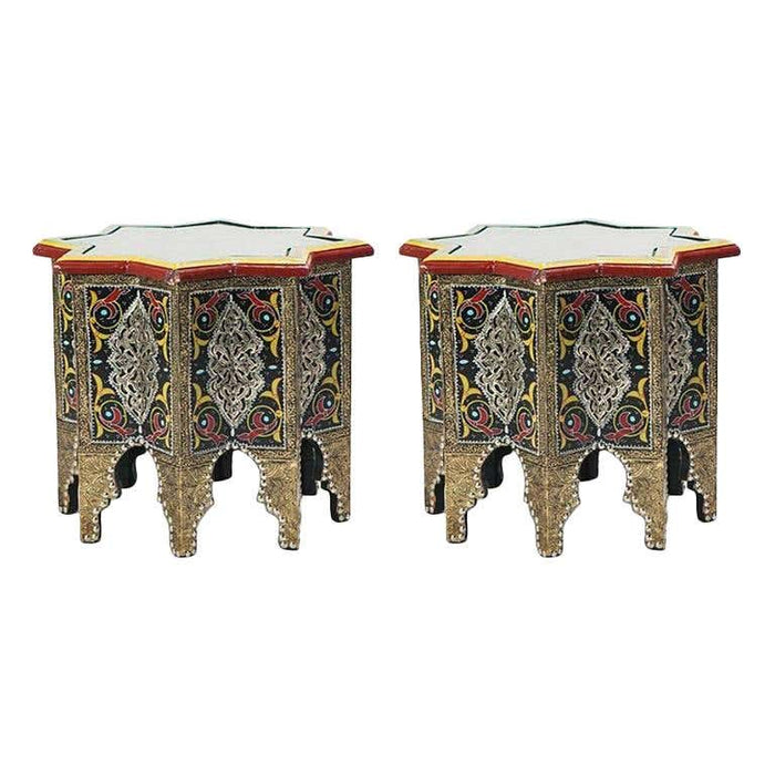 Pair of Hand Painted Star Shaped Black Brass Inlaid Moorish Side Tables