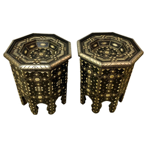 A Pair of Modern Moroccan Ebonized Wood with White Brass and Bone Inlaid Table