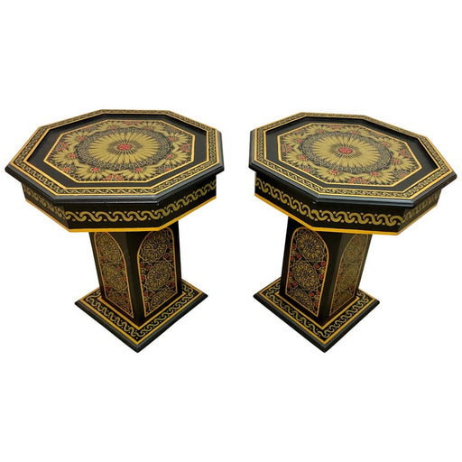 Hand Painted Black Moroccan End, Side or Lamp Tables Octagonal Shaped, a Pair