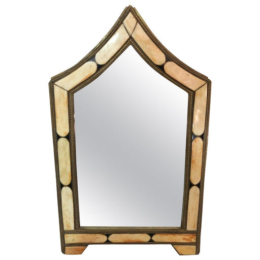 Wall or Vanity Mirror, Natural Camel Bone & Brass Inlay