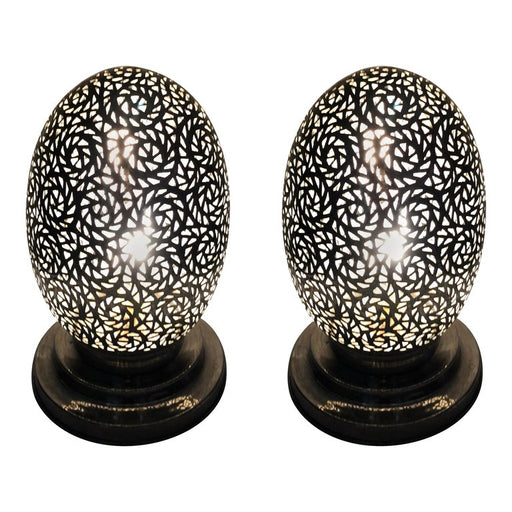 Egg Shaped White Brass Handmade Moroccan Table Lamps - A Pair