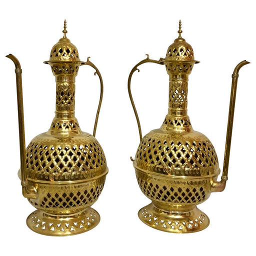 Brass Moroccan Floor or Table Lamp Handmade in Filigree Design, a Pair