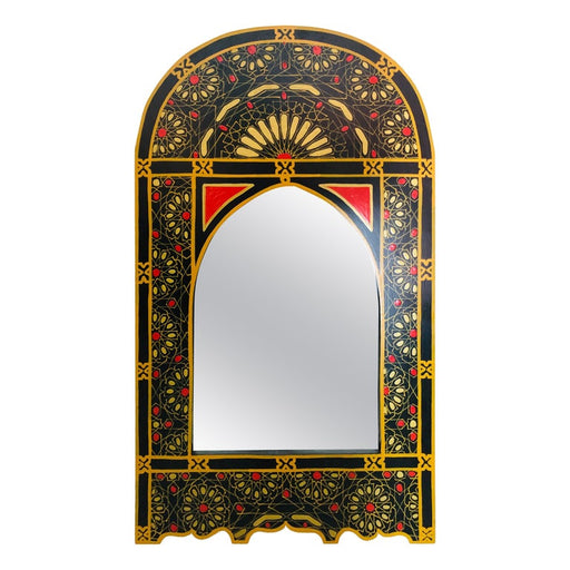 Moroccan Hand Painted Wall or Vanity Mirror in Black with Moorish Design
