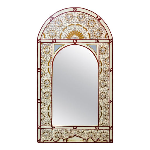 Moroccan Wall, Vanity, Console Mirror, Hand Painted White, Burgundy and Gold