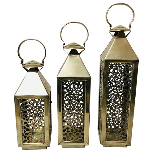 Moroccan Candle Lantern, Holder, White Brass in Arabesque Design, Set of Three