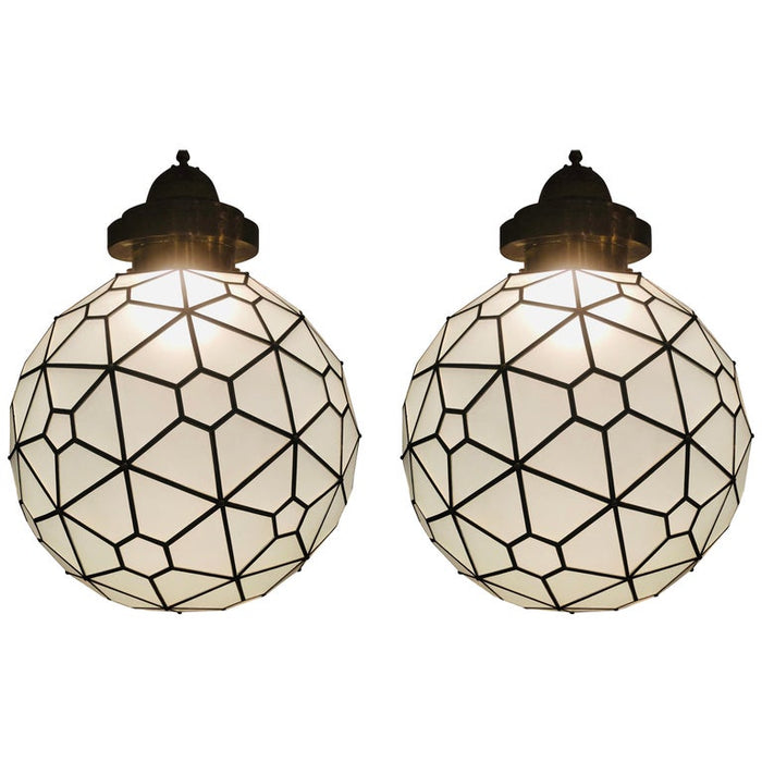 Art Deco Style Chandelier, Pendant Globe Shape Milk Glass and Brass, a Pair