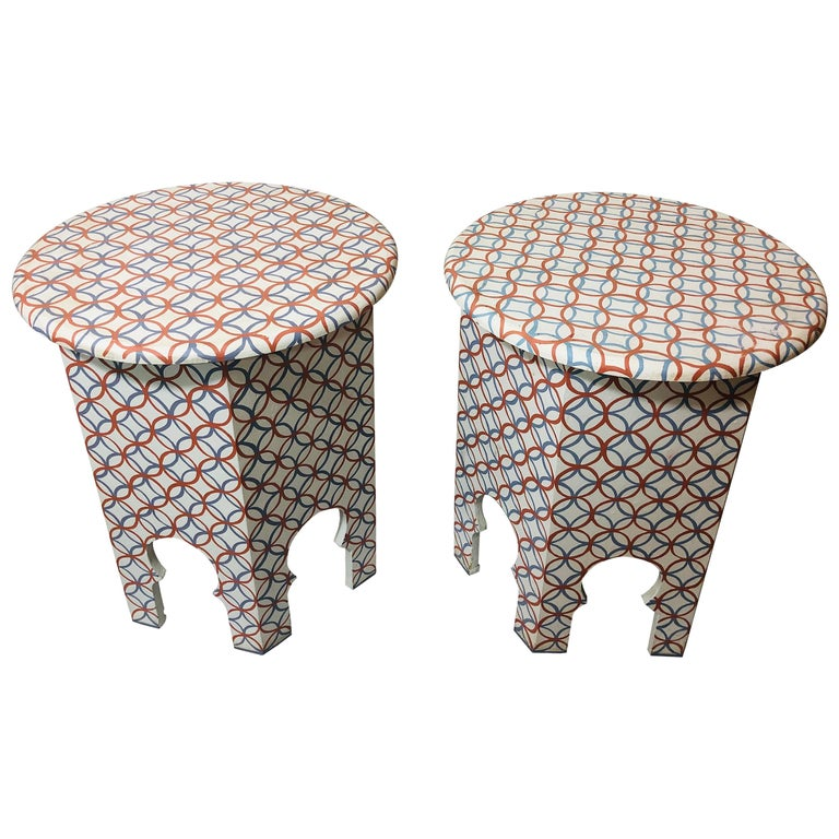 A Pair of Moroccan Handmade End Tables in Orange, Blue and White
