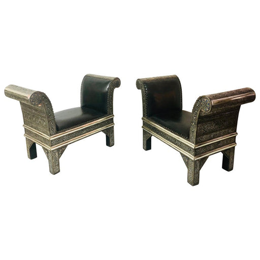 Hollywood Regency Benches, Settees, Chairs in White Brass and Leather, Pair