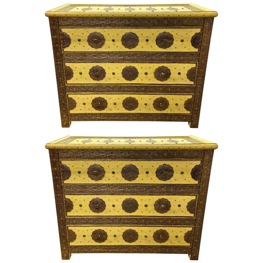 Pair of Three Drawer Commodes or Night stands in Hollywood Regency Style
