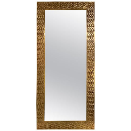 Brass Palatial Modern Hand Hammered Diamond Riveted Floor, or Console Mirror