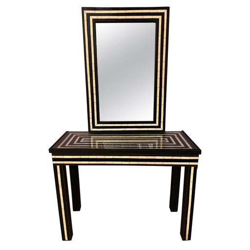 Mid Century Modern Resin Black & White Console & Mirror