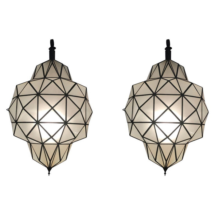 Large Art Deco while milk chandelier, pendant or lantern in dome shape, a pair