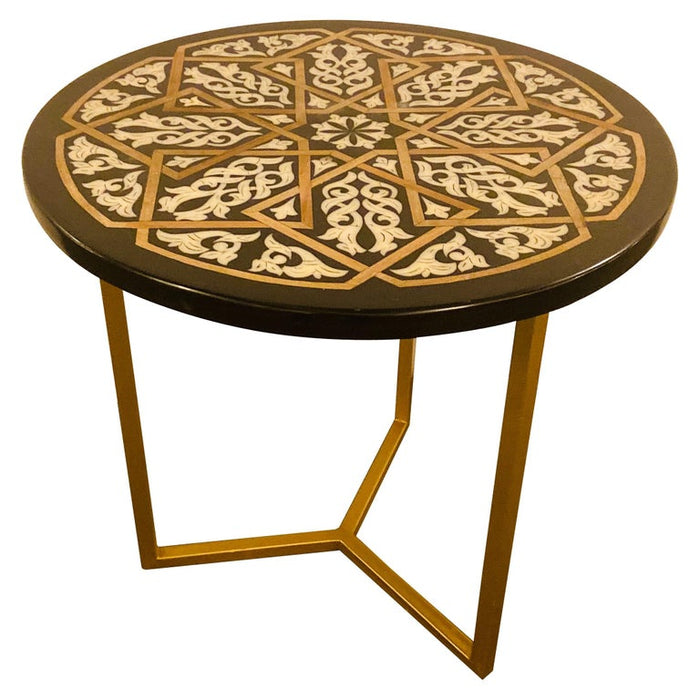 Handmade Modern Moroccan Resin Black & White End/Side Table with Gold Brass Legs