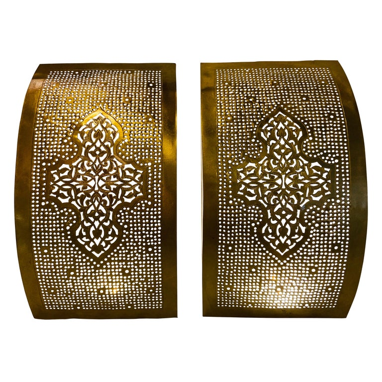 Pair of Handmade Gold Brass Modern Moroccan Design Wall Sconces/Lanterns