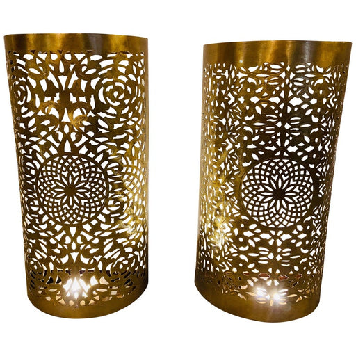 Pair of Handmade Brass Modern Moroccan Filigree Design Wall Lanterns/Sconces