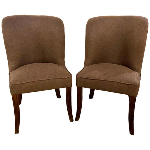 Side or Desk Chair Mid-Century Modern Style in a Fine Gray Upholstery, a Pair
