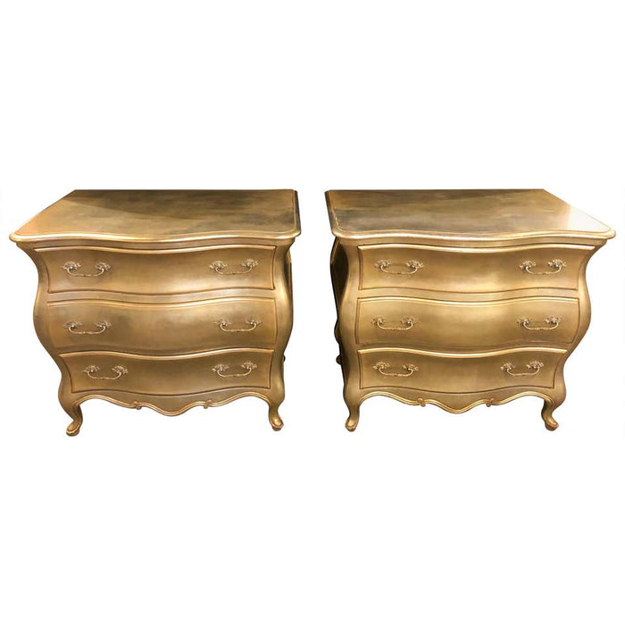 Hollywood Regency Bombe Silver Gilt Bedside Stands or Commodes a Pair