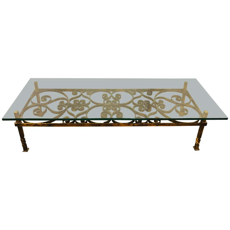 Glass Top Wrought Iron Industrial Coffee or Low Table