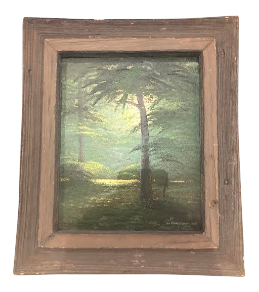 "1970s Vintage ""The Sacred Grove"" Oil on Canvas Landscape Painting"