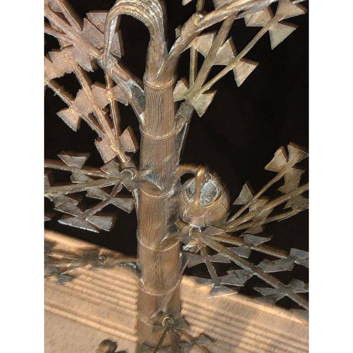 Silver Plated or Steel Metal Figural Sculptures of Men Climbing a Tree, a Pair