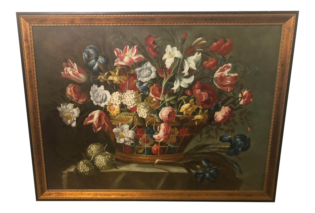 1980s Flower Bouquet Oil on Canvas Painting