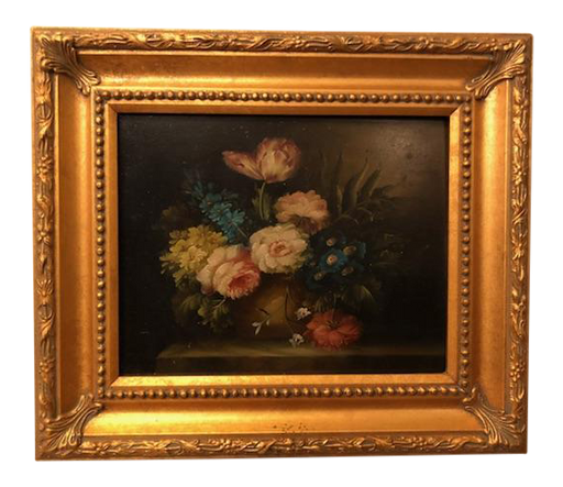 1980s Flower Still Life Oil on Canvas Painting