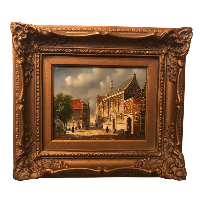 1980s Oil on Panel Framed Genre Painting