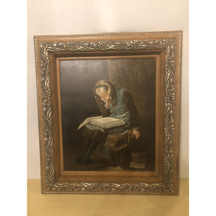 Signed Oil on Canvas Painting of Girl Reading a Book