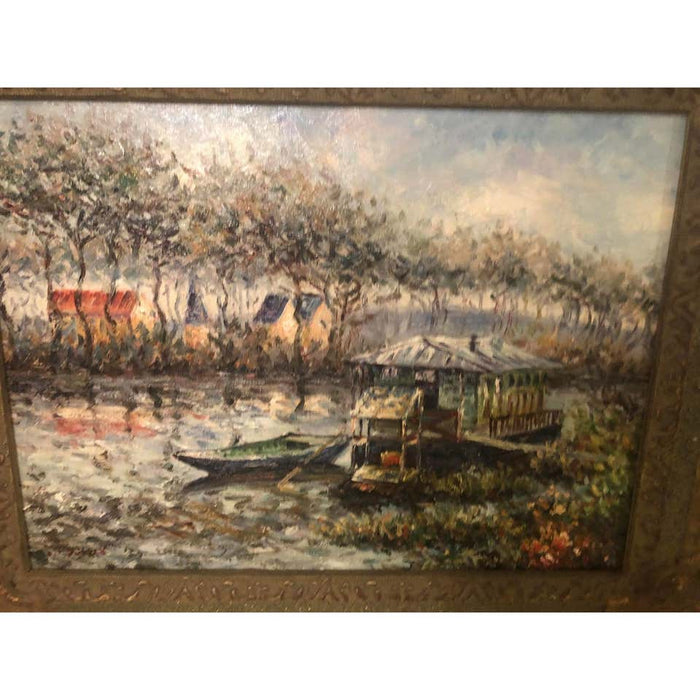 Landscape River Oil on Canvas Painting Framed and Signed