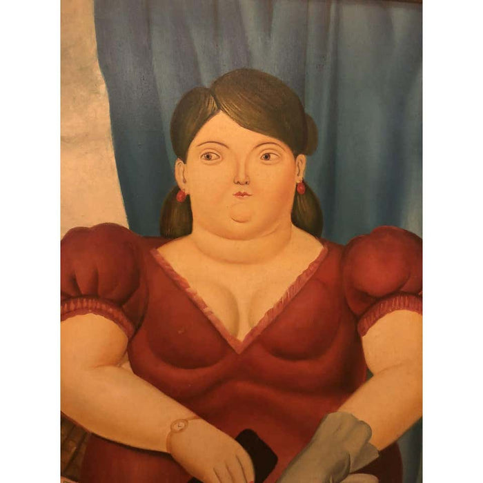 Female Portrait Oil on Canvas Painting in the manner to Fernando Botero