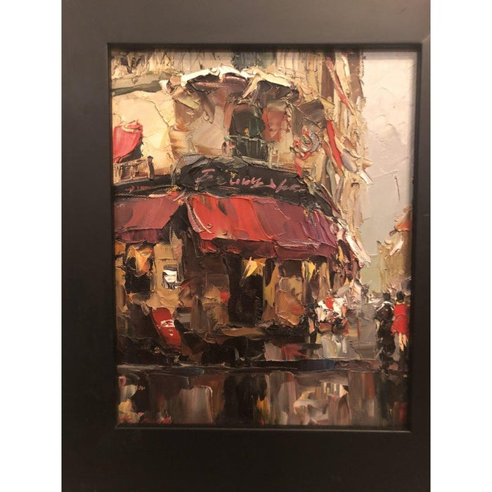 1980s Oil on Canvas Painting of Store Front Street Scene