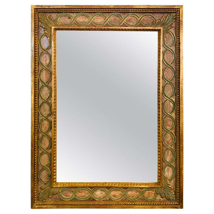 Antiqued Mirror, Gilt Wood & Handpainted Framed Wall/Vanity or Console Mirror