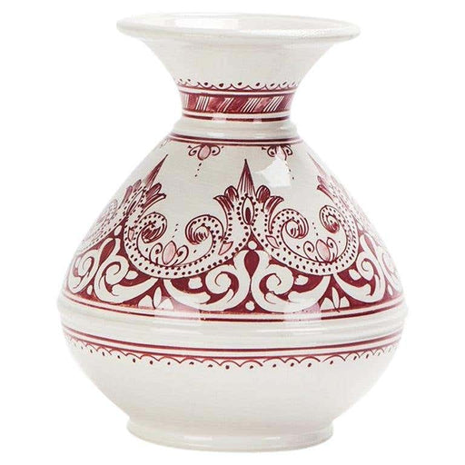 Vintage Handmade Moroccan Burgundy and White Ceramic Vase