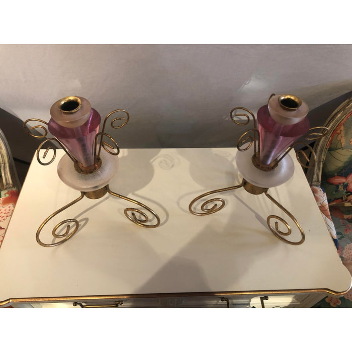 1990s Art Deco Style Lucite and Gilt Metal Candlesticks - a Pair