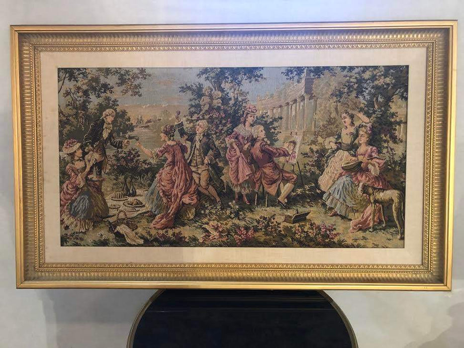1990s Gobelin French Style Custom Gilt Framed Tapestry