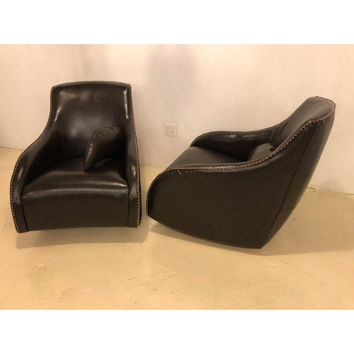 1990s Vintage Leather Rocking Chairs- A Pair