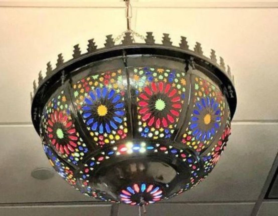 Shabby Chic Moroccan Multi-Color Glass Chandelier or Pendant