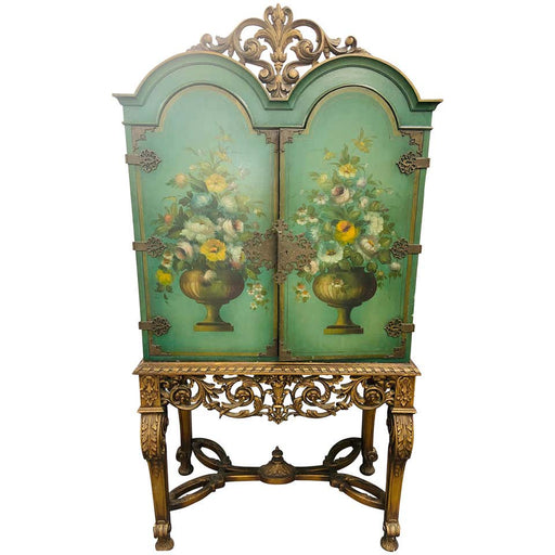 An English Two Door Floral Paint and Gilt Decorated Radio Cabinet