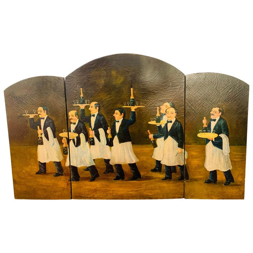 Three Panel Folding Hand-Painted Fireplace Screen